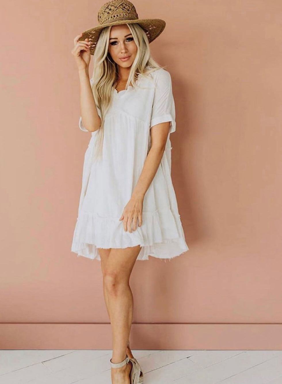 Linen Textured V-Neck Babydoll Ruffle Tunic Dress - Vida Boutique Inc.