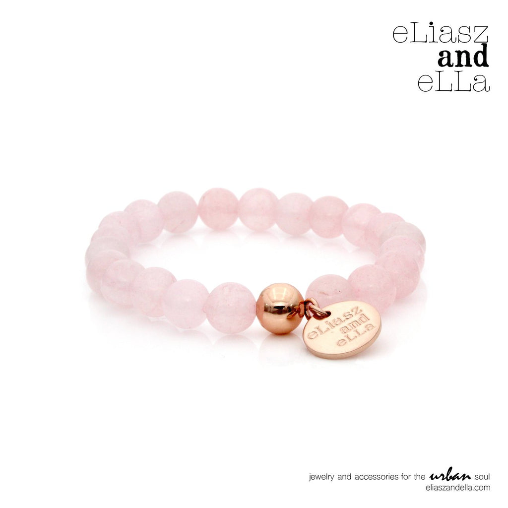 eLiasz and eLLa Ice Rose Quartz Stone Bangin Bracelet - Vida Boutique Inc.