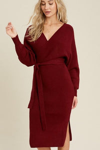 The Camila Belted Sweater Dress - Wine - Vida Boutique Inc.
