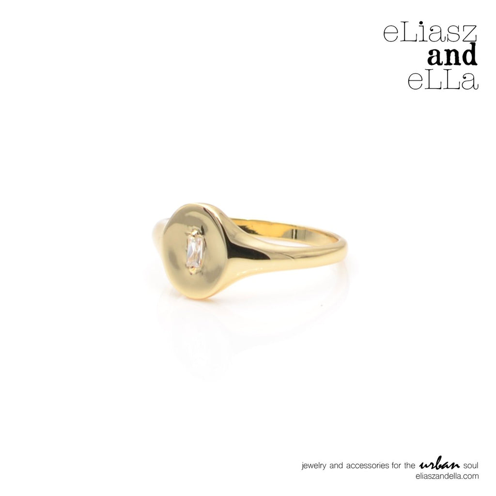 eLiasz and eLLa Jewelry Gold Signet Ring - Vida Boutique Inc.