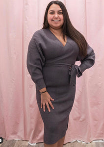The Camila Belted Sweater Dress - Grey - Vida Boutique Inc.