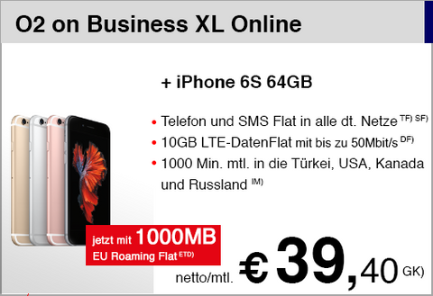 O2 on Business XL mit iPhone 6S 64GB