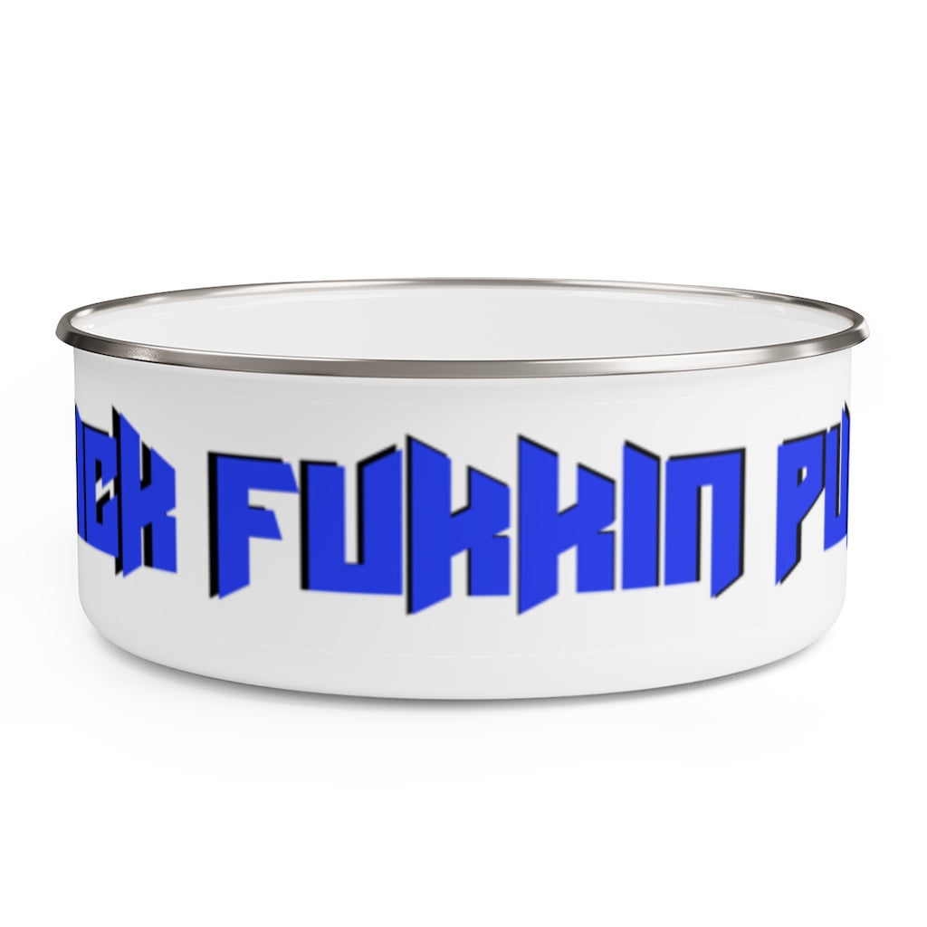 Sick Fukkin Puppy Blue Black Enamel Bowl