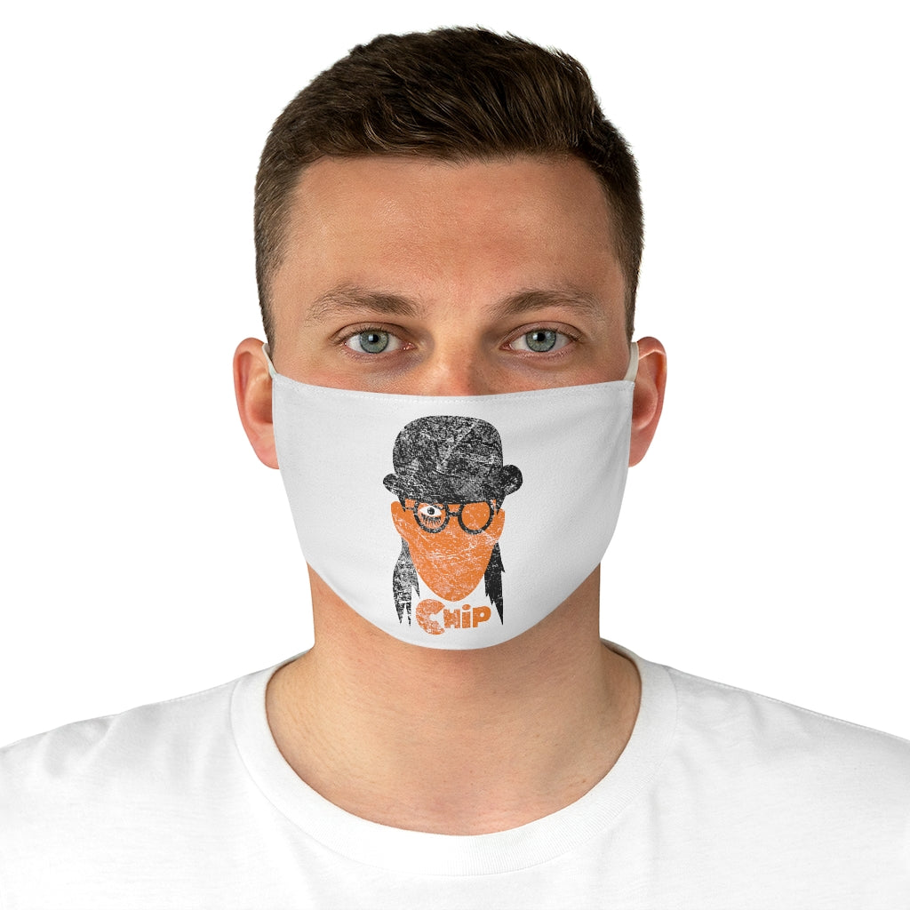 Chip Orange White Distressed Fabric Face Mask