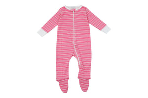 Footed Pajamas in Pink Stripes