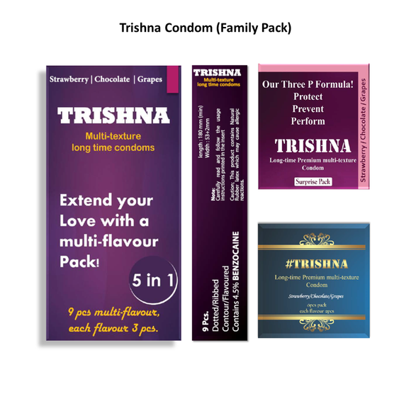 Trishna Long Time Multi Texture Multi Flavour Dotted Condoms (Strawberry/Chocolate/Grape) - 30 Pcs