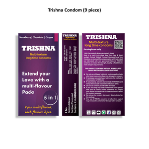 Trishna Long Time Multi Texture Multi Flavour Dotted Condoms (Strawberry/Chocolate/Grape) - 9 Pcs
