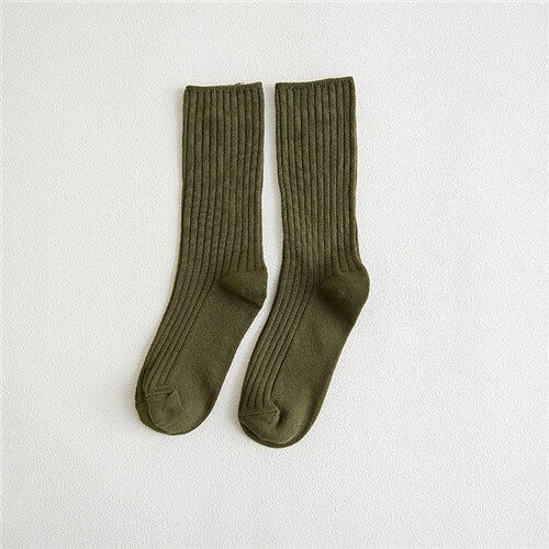 New Loose Socks Women 200 Needles Cotton Knitting Rib