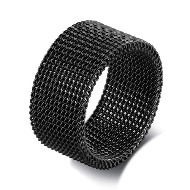 MENS MODERN STAINLESS STEEL MESH BAND RING MESH BAND FOR MEN WOMEN JEWELRY