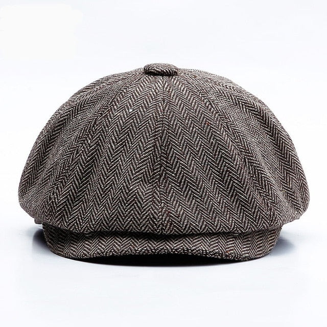 Autumn Winter Newsboy Caps Warm Tweed Octagonal Hat For Male