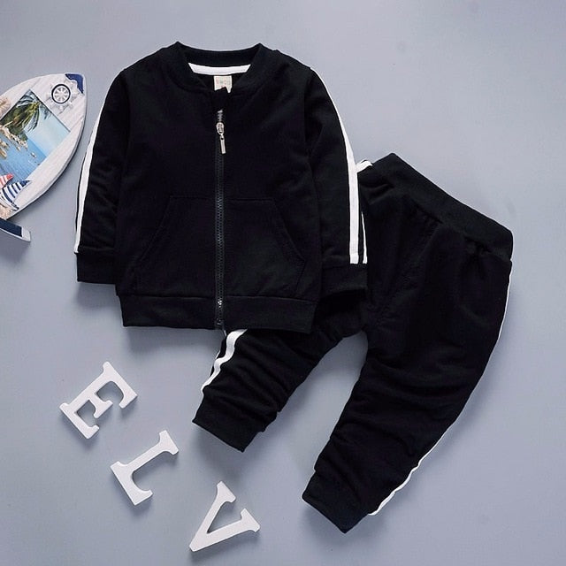 Spring Baby Casual Tracksuit Children Boy Girl Cotton Zipper Jacket Pants Kids Leisure Sport Suit Infant Clothing