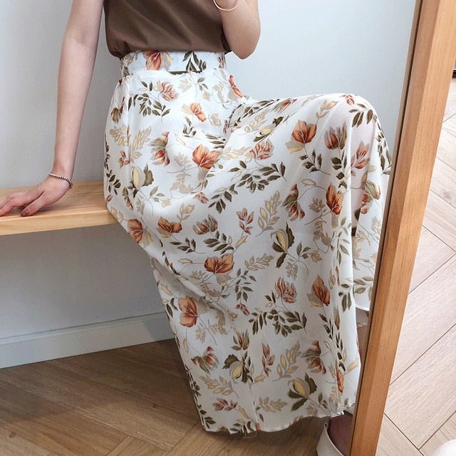 Casual Floral Print Maxi Beach Skirt