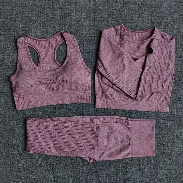 Women Seamless Yoga Set Fitness Sports Suits Gym Clothing Long Sleeve