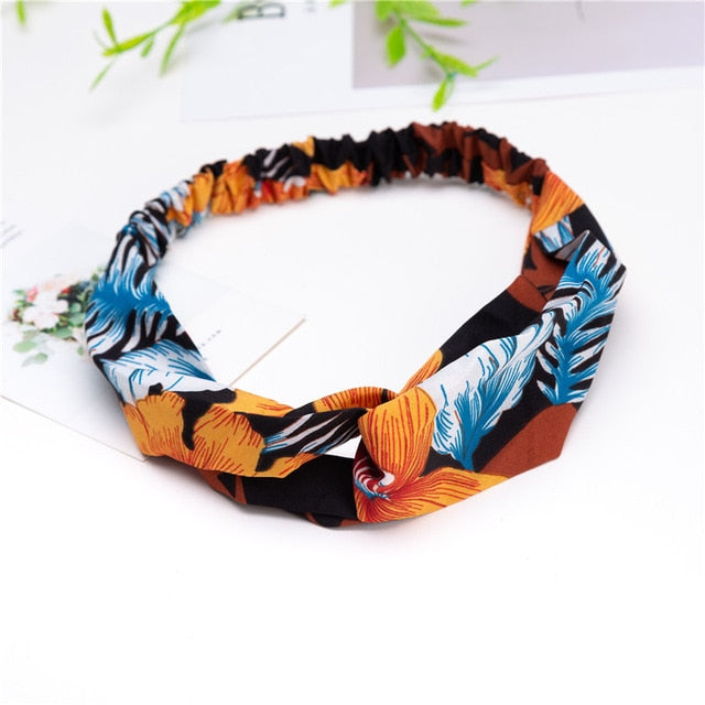 Fashion Women Girls Hair Bands Print Headbands Vintage Cross Bandage Bandanas HairBands Hair Accessories