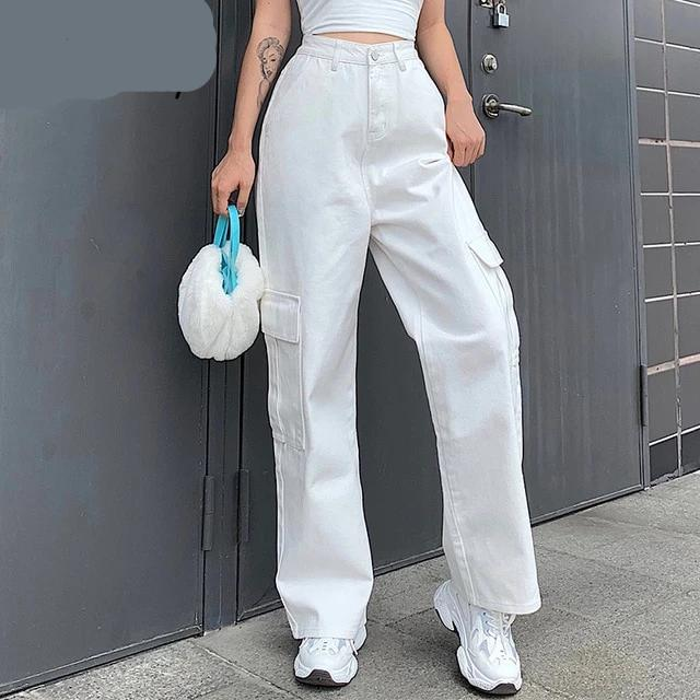 Cargo Patchwork High Waist Jeans