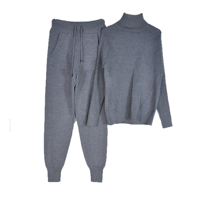 Tracksuit Solid Color Striped Turtleneck Sweater and Elastic Trousers