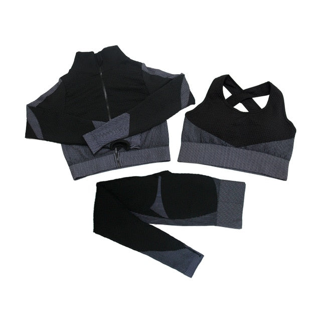 Fitness Suits Yoga Women Outfits 3pcs Sets Long Sleeve