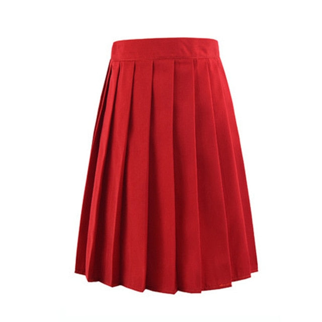 2019 Women Summer high waist pleated plaid skirt