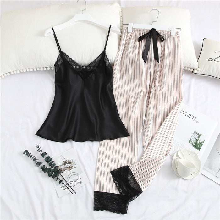 Silk Pajamas for Woman 2 Piece Lounge Wear