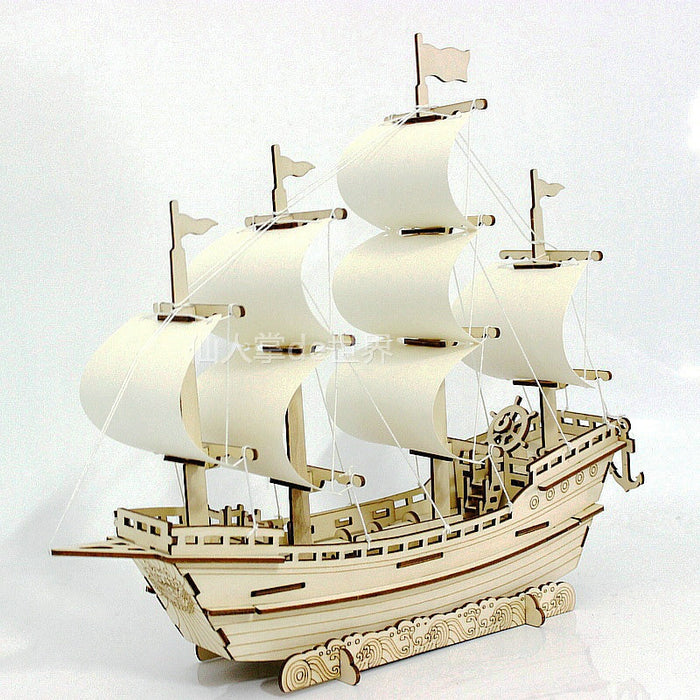 3D Wooden Ship Jigsaw Toys Learning Building Robot Model DIY Sailing Boat
