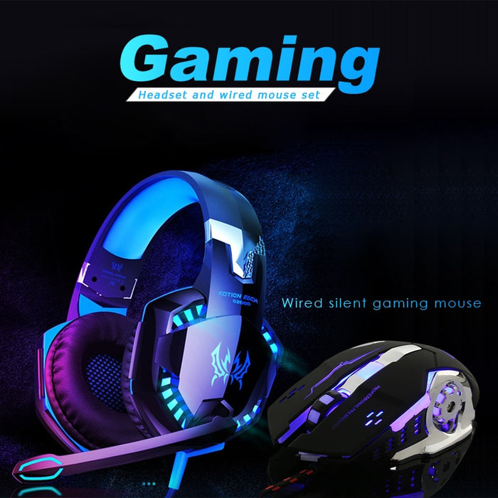 G2000 Gaming Headset +Wired Mouse Set