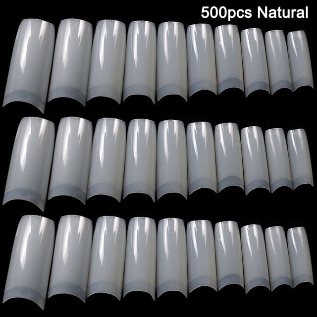 100/500pcs Nails Half French False Nail Art