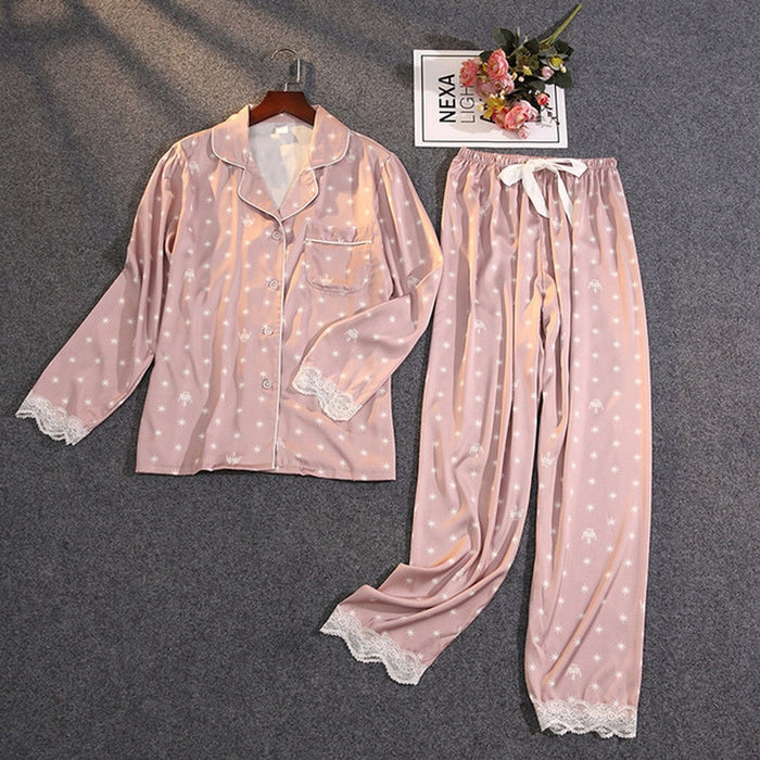 Ice Silk Satin Thin Outwear Print Lace Pyjamas Sleep Wear Lounge Set