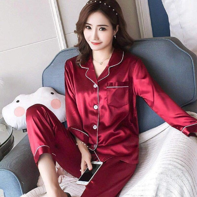 Silk Satin Pajamas for Womens Pyjamas Set Long Sleeve Sleepwear