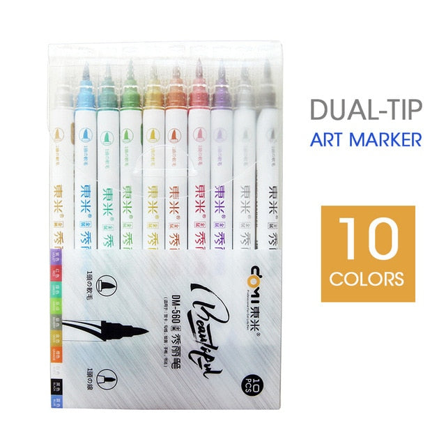 Andstal 10 Colors Dual Tips Metallic Marker Pearl Color Art Markers