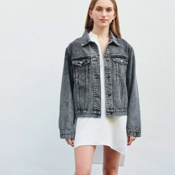 SARA DENIM JACKET // ACID WASH BLACK