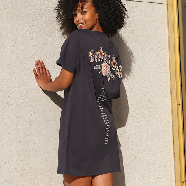 "THE ""BABES CLUB"" BOXY TEE DRESS // CHARCOAL"