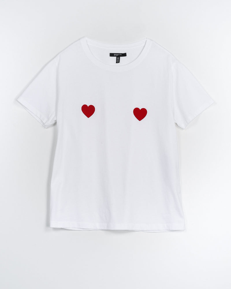 "THE ""DOUBLE HEART"" CLASSIC CREW NECK TEE // WHITE"