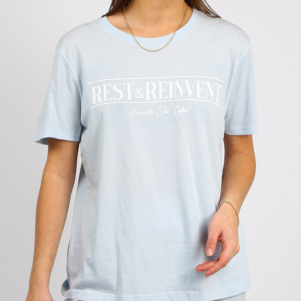 """REST & REINVENT"" CLASSIC TEE // SUMMER SKY"