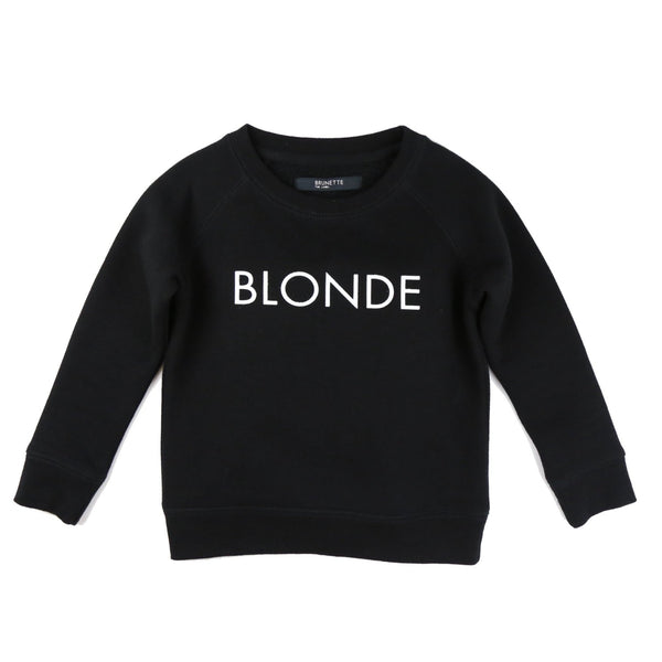 "LITTLE BABES ""BLONDE"" CREW NECK // BLACK"