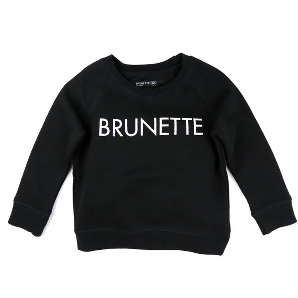 "LITTLE BABES ""BRUNETTE"" CREW NECK // BLACK"