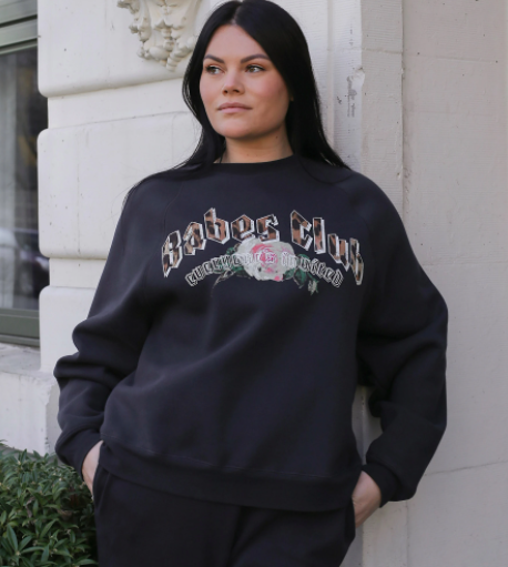 "THE ""BABES CLUB"" NOT YOUR BOYFRIEND'S CREW NECK SWEATSHIRT // CHARCOAL"