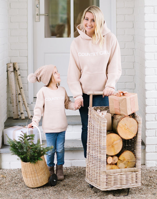 "LITTLE BABES ""COUNTRY GIRL"" CREW NECK // TOASTED ALMOND"