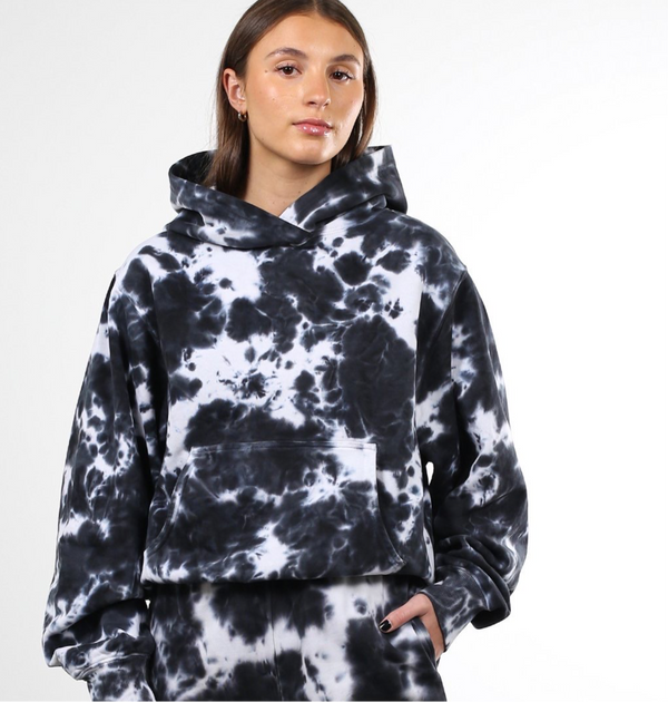 "THE ""MARBLE TIE DYE"" BEST FRIEND HOODIE // BLACK"