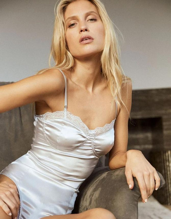 LOOK OF LOVE BUSTIER SATEEN BODYSUIT // SILVER