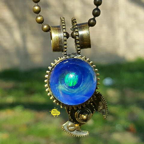 Aquariust Glass Steampunk Pendant W Encased Opal