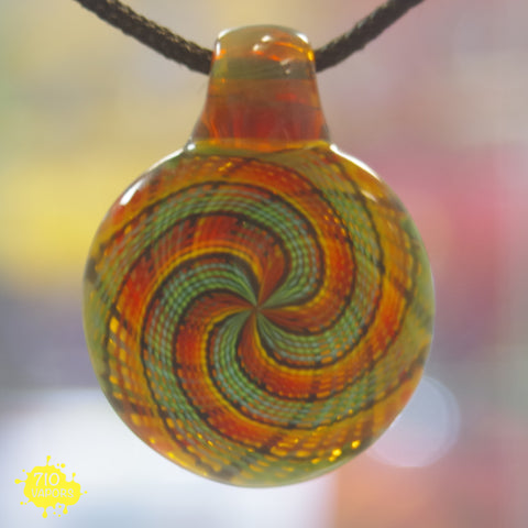 Motavation Glass Orange and Green Retticello Disk Pendant - 710 Vapors