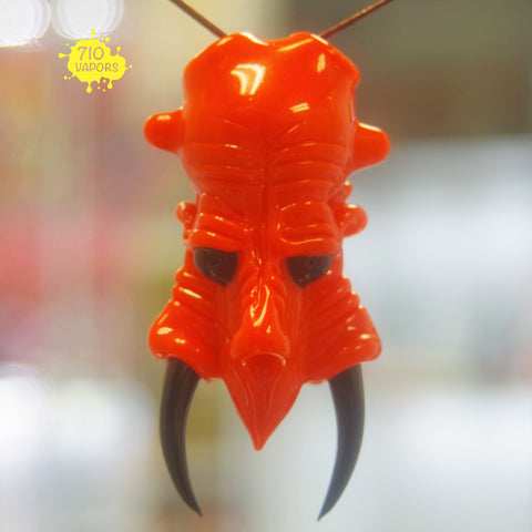 Shuhbuh Glass Orange Crayon Monster Head Pendant - 710 Vapors