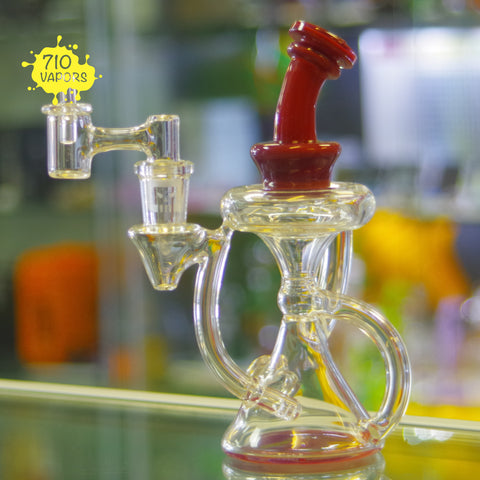 Solid Red Worked Recycler by Casa Glass