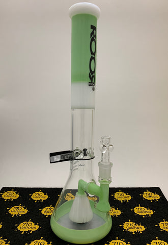 RooR Tech Fixed 18in Beaker 50x5 Green and White - 710 Vapors