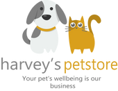 harveys pet store logo. Cartoon dog and Cat with slogan below