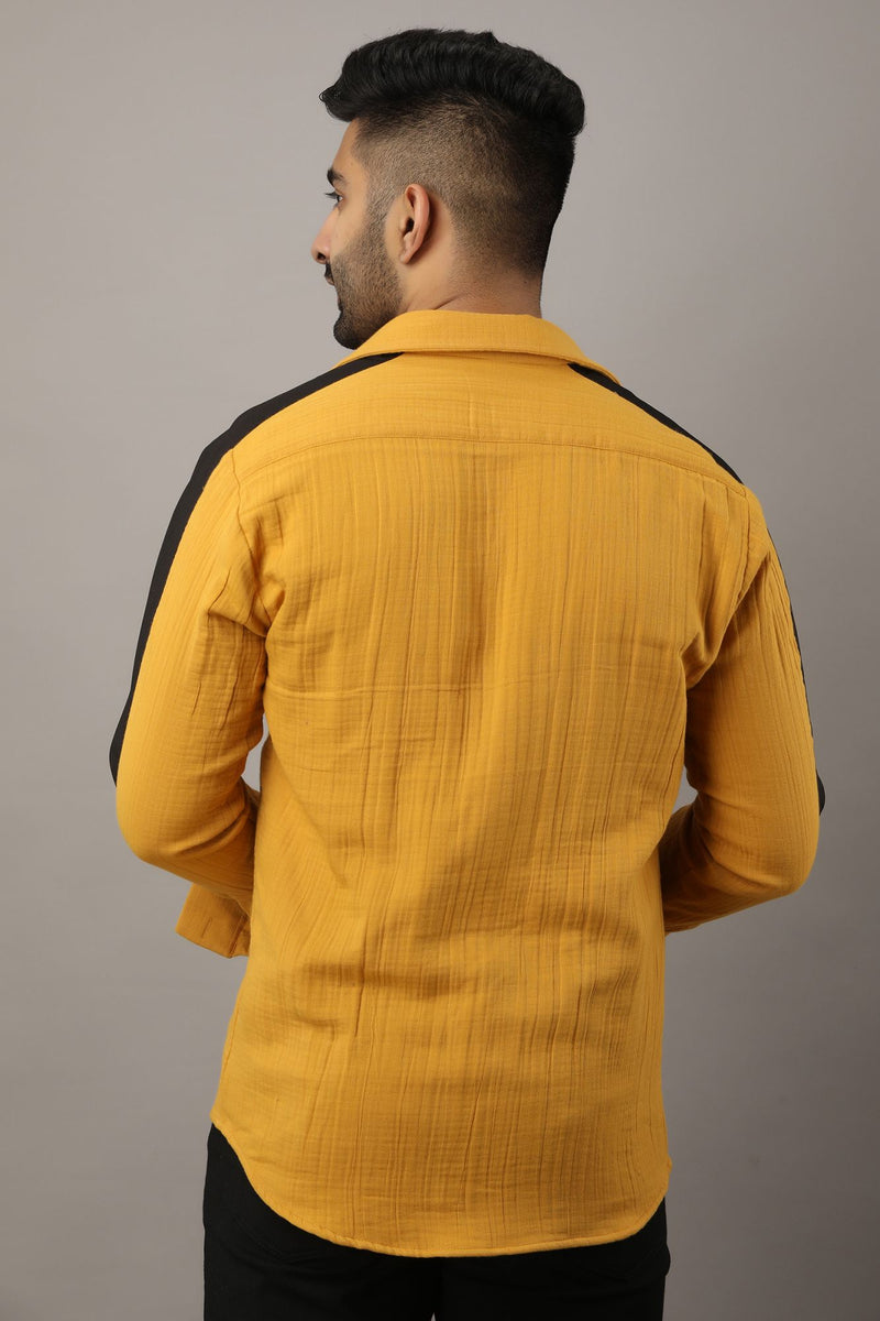 Yellow Two Layered  Foam Pathani Shirt Full Sleeve