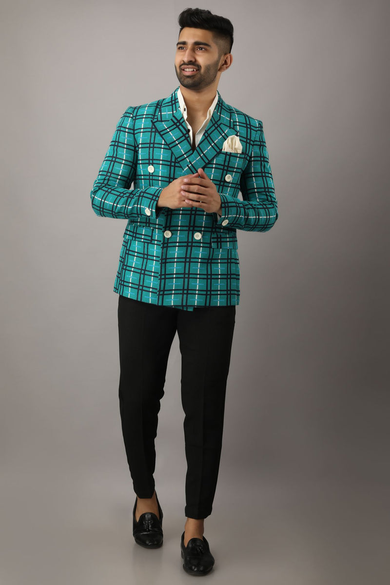 Teal Checked Tailored Fit Single Breasted Formal