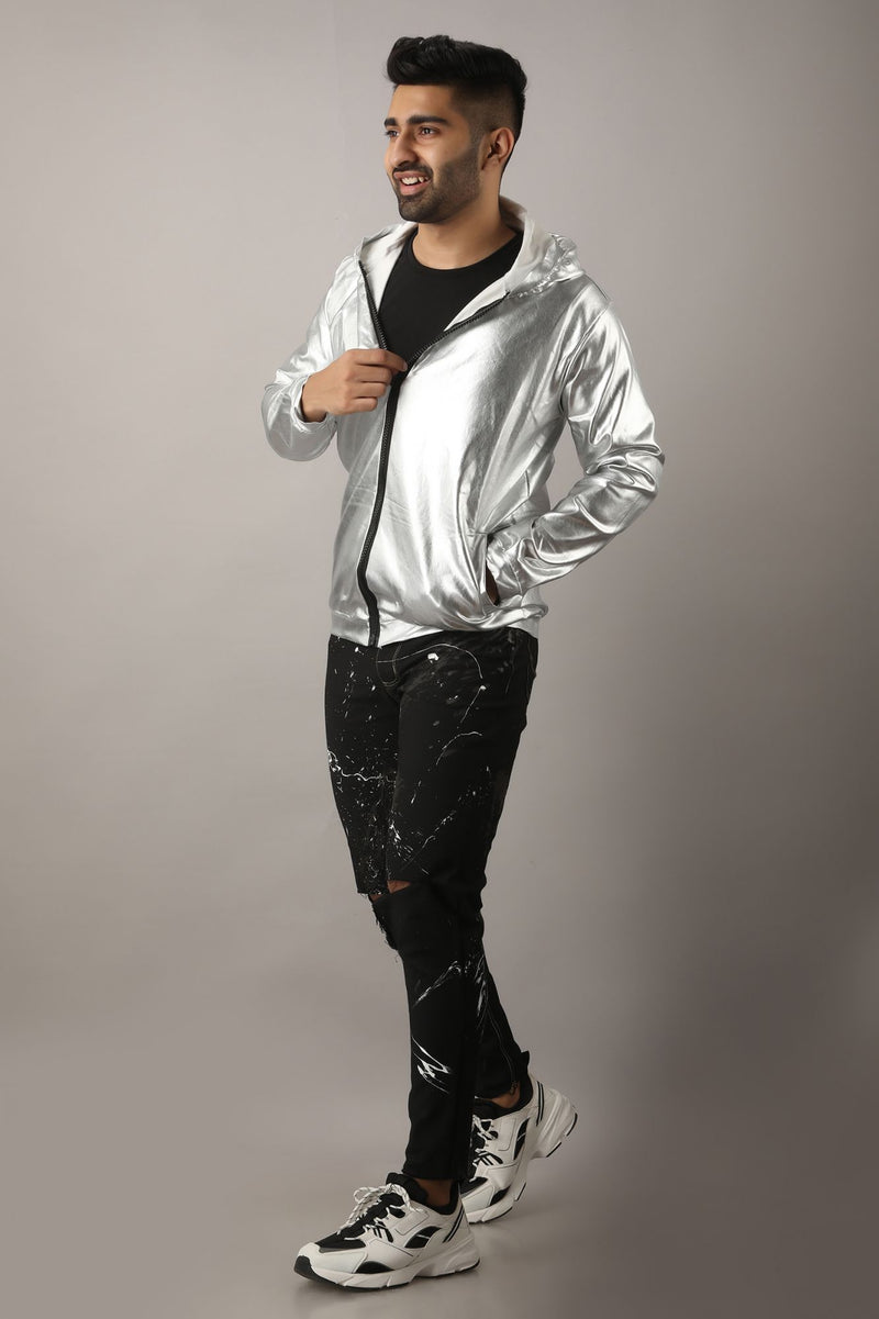 Silver Solid Colored Self Design  Jacket