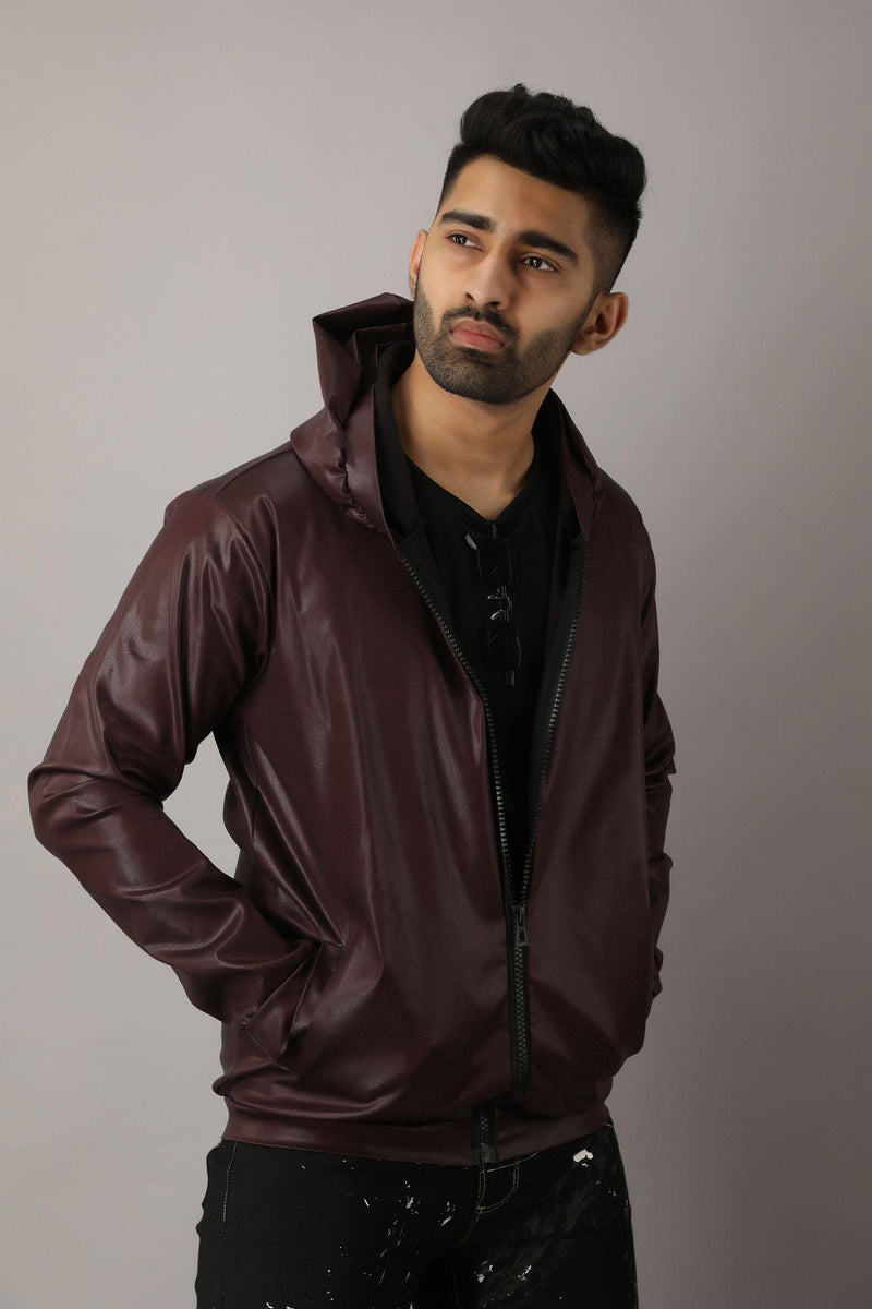 Brown Solid Party wear Glossy Jacket - Chamlooks