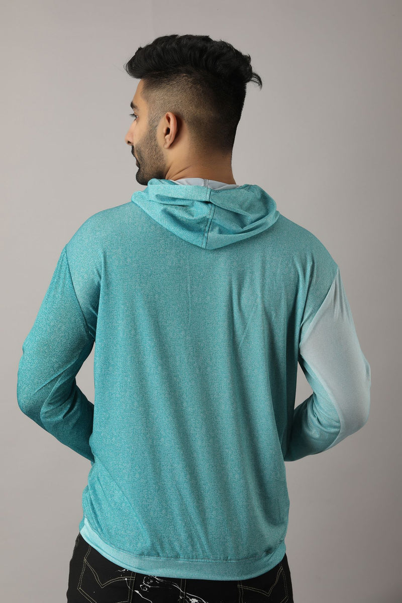 Turquoise Hoodie Super Stretchable Jacket